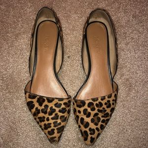 J. Crew Leopard Mohair/Leather Flat
